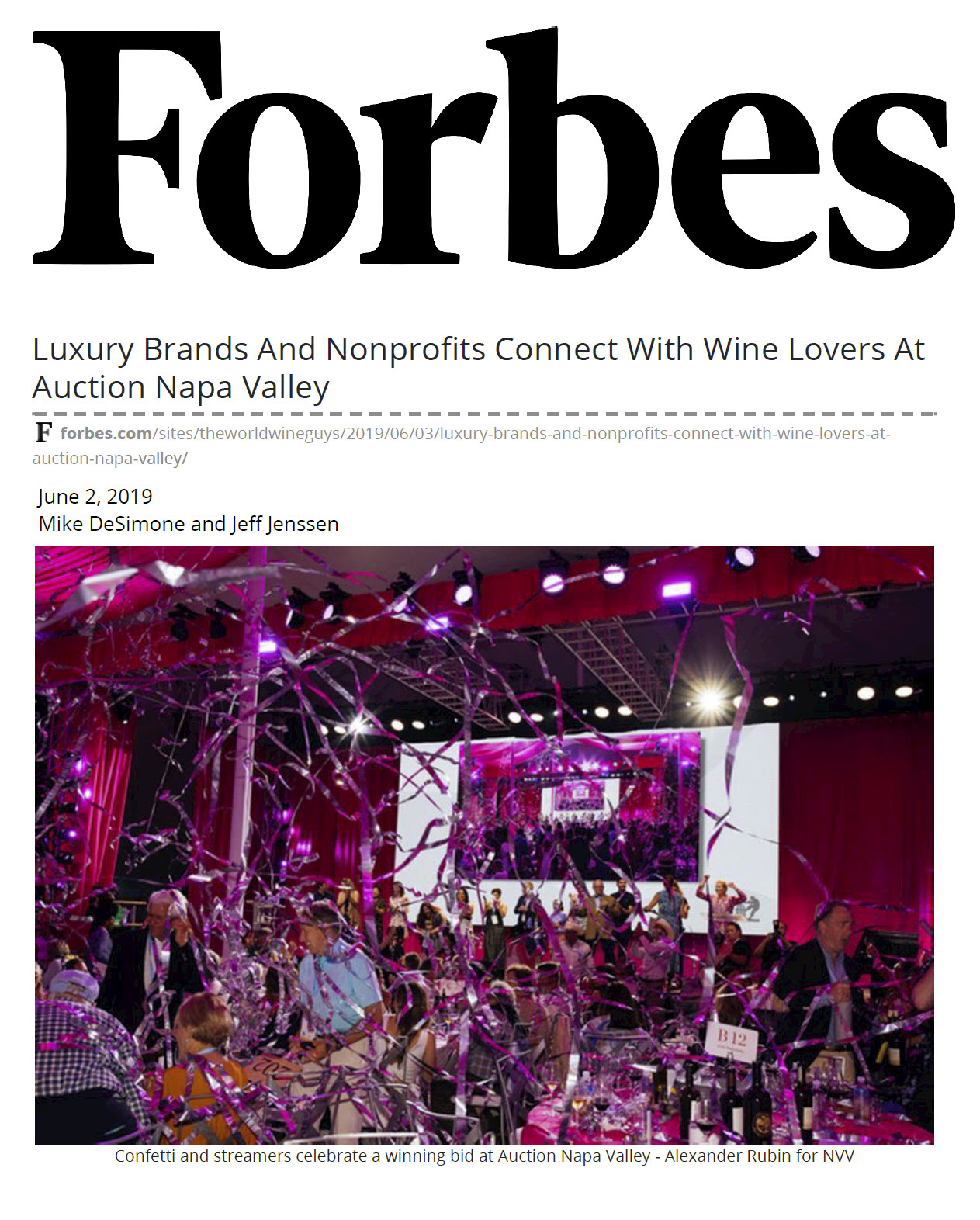 Aldea, Auction Napa Valley, Katy Perry and a mention in Forbes Magazine